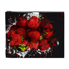 Strawberry Fruit Food Art Abstract Cosmetic Bag (xl) by Nexatart