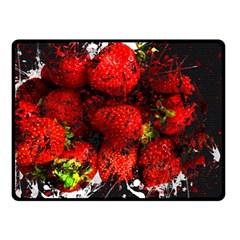 Strawberry Fruit Food Art Abstract Fleece Blanket (small)