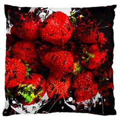 Strawberry Fruit Food Art Abstract Large Cushion Case (two Sides) by Nexatart