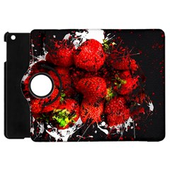 Strawberry Fruit Food Art Abstract Apple Ipad Mini Flip 360 Case by Nexatart