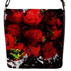 Strawberry Fruit Food Art Abstract Flap Messenger Bag (s) by Nexatart
