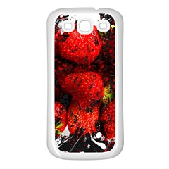 Strawberry Fruit Food Art Abstract Samsung Galaxy S3 Back Case (white) by Nexatart