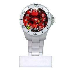 Strawberry Fruit Food Art Abstract Plastic Nurses Watch