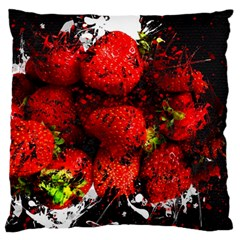 Strawberry Fruit Food Art Abstract Large Flano Cushion Case (two Sides)