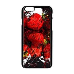 Strawberry Fruit Food Art Abstract Apple Iphone 6/6s Black Enamel Case