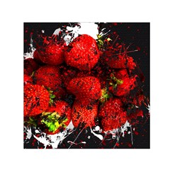 Strawberry Fruit Food Art Abstract Small Satin Scarf (square)