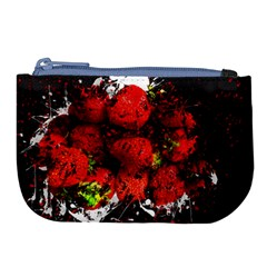 Strawberry Fruit Food Art Abstract Large Coin Purse by Nexatart