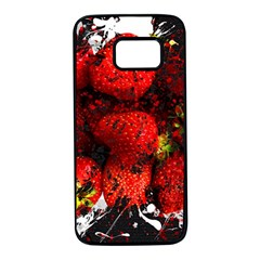 Strawberry Fruit Food Art Abstract Samsung Galaxy S7 Black Seamless Case