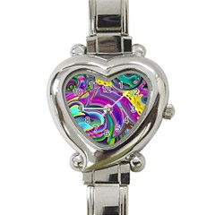 Background Art Abstract Watercolor Heart Italian Charm Watch