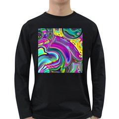 Background Art Abstract Watercolor Long Sleeve Dark T Shirts