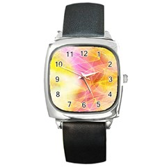 Background Art Abstract Watercolor Square Metal Watch