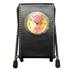 Background Art Abstract Watercolor Pen Holder Desk Clocks