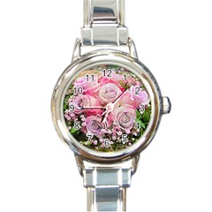 Flowers Bouquet Wedding Art Nature Round Italian Charm Watch by Nexatart