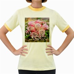 Flowers Bouquet Wedding Art Nature Women s Fitted Ringer T Shirts