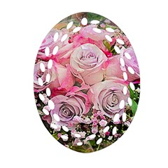 Flowers Bouquet Wedding Art Nature Ornament (oval Filigree)