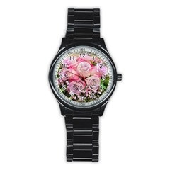 Flowers Bouquet Wedding Art Nature Stainless Steel Round Watch by Nexatart