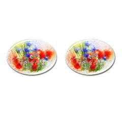 Flowers Bouquet Art Nature Cufflinks (oval) by Nexatart