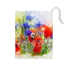 Flowers Bouquet Art Nature Drawstring Pouches (large)