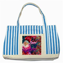 Background Art Abstract Watercolor Striped Blue Tote Bag by Nexatart