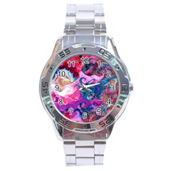 Background Art Abstract Watercolor Stainless Steel Analogue Watch by Nexatart
