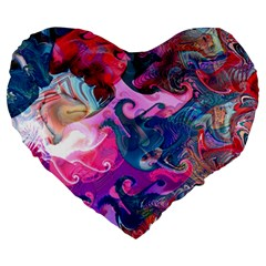 Background Art Abstract Watercolor Large 19  Premium Heart Shape Cushions