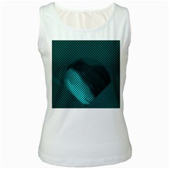 Background Sphere Ball Metal Blue Women s White Tank Top