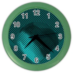 Background Sphere Ball Metal Blue Color Wall Clocks by Nexatart