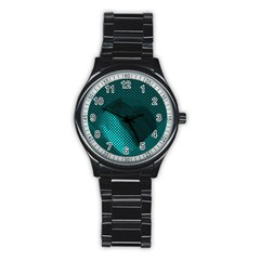 Background Sphere Ball Metal Blue Stainless Steel Round Watch
