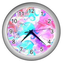 Background Art Abstract Watercolor Pattern Wall Clocks (silver)  by Nexatart