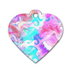 Background Art Abstract Watercolor Pattern Dog Tag Heart (one Side)