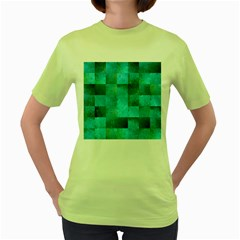 Background Squares Blue Green Women s Green T Shirt