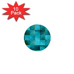Background Squares Blue Green 1  Mini Buttons (10 Pack)