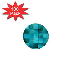 Background Squares Blue Green 1  Mini Buttons (100 Pack)