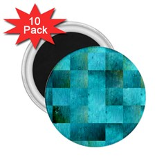 Background Squares Blue Green 2 25  Magnets (10 Pack)