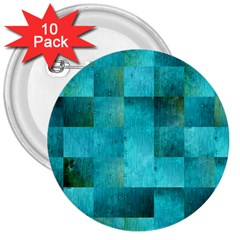 Background Squares Blue Green 3  Buttons (10 Pack)