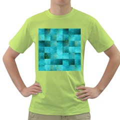 Background Squares Blue Green Green T Shirt