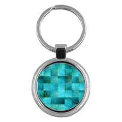 Background Squares Blue Green Key Chains (round)  by Nexatart