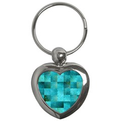 Background Squares Blue Green Key Chains (heart)  by Nexatart