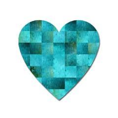 Background Squares Blue Green Heart Magnet