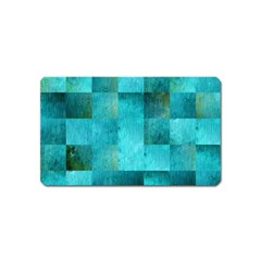 Background Squares Blue Green Magnet (name Card)