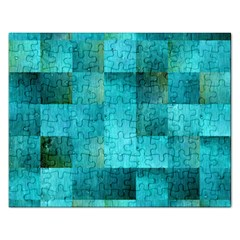 Background Squares Blue Green Rectangular Jigsaw Puzzl by Nexatart
