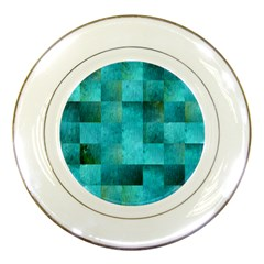 Background Squares Blue Green Porcelain Plates by Nexatart