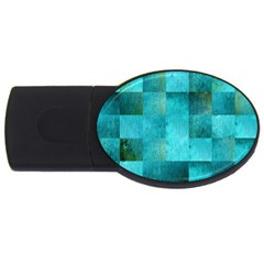 Background Squares Blue Green Usb Flash Drive Oval (4 Gb)
