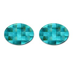 Background Squares Blue Green Cufflinks (oval)