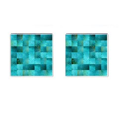 Background Squares Blue Green Cufflinks (square)