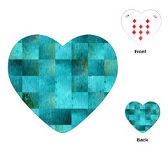 Background Squares Blue Green Playing Cards (heart)