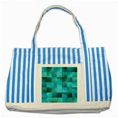 Background Squares Blue Green Striped Blue Tote Bag