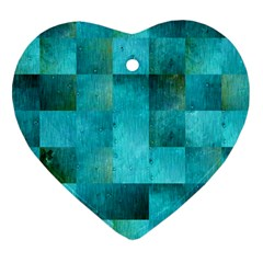 Background Squares Blue Green Heart Ornament (two Sides)