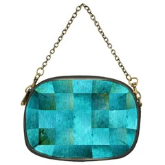 Background Squares Blue Green Chain Purses (one Side)