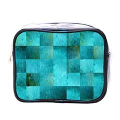 Background Squares Blue Green Mini Toiletries Bags